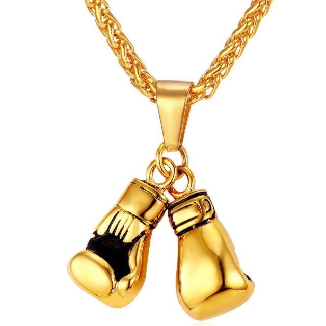 Boxing Gloves Design Steel Men's Pendant Necklace