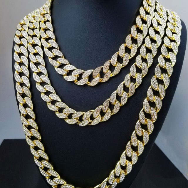 Men's Iced Out Rhinestone Link Chains