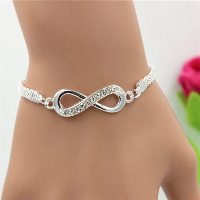 Women's Silver Infinity Chain Bracelet