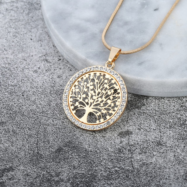Women's Tree Of Life Crystal Round Pendant Necklace