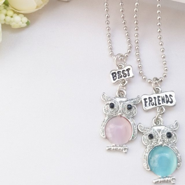 Best Friends Owl Pendant Necklaces 2 pcs Set for Kids